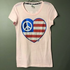 VS PINK Heart Patriotic July 4th Peace Bling Tee